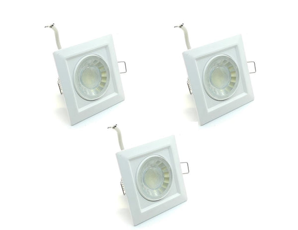 Pack 3 Downlights Led Cuadrado Empotrable Orientable 8w 3000K - 6000K