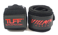 "Load image into Gallery viewer, 16"" Black Villain Sidekick Wrist Wraps"