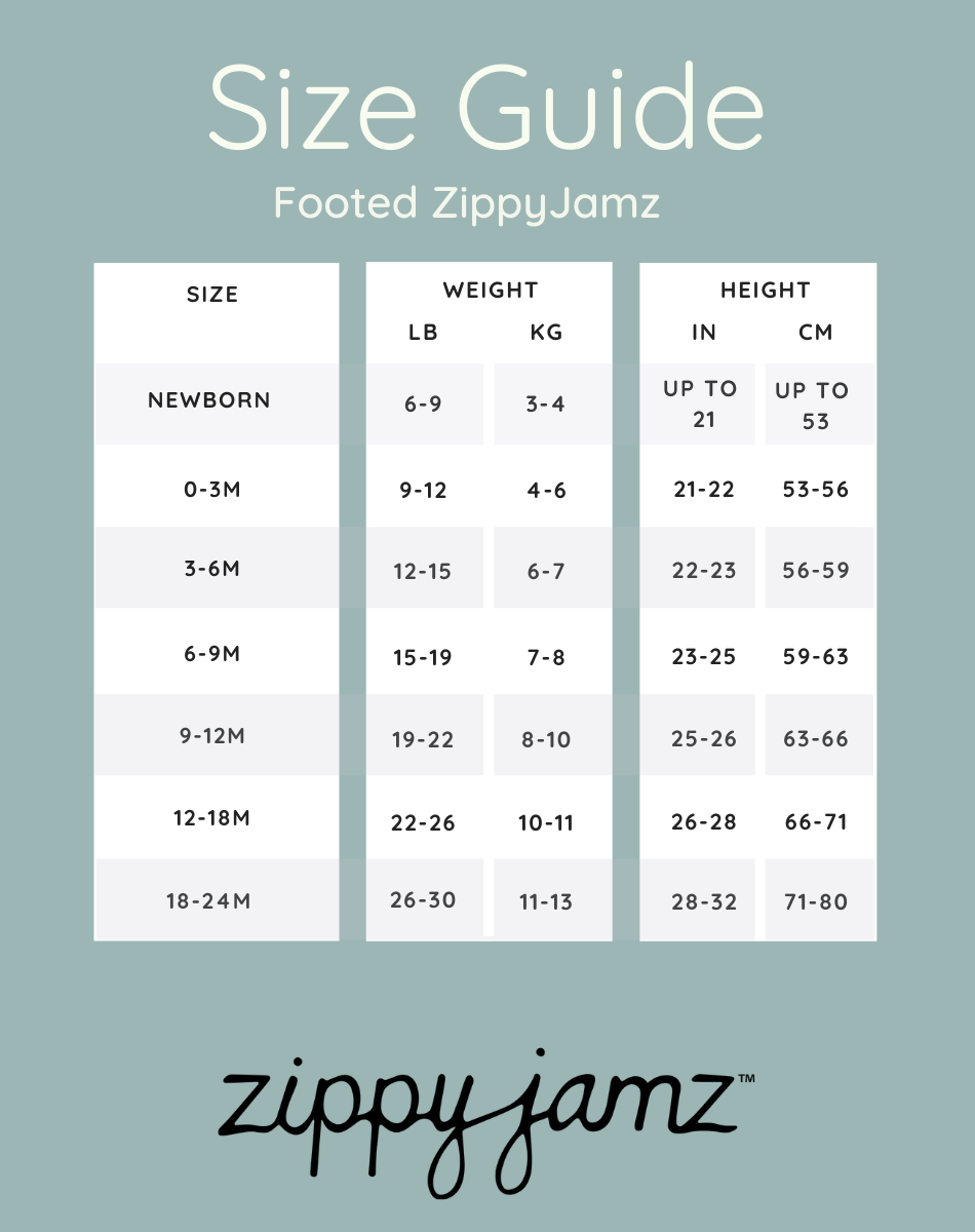 ZippyJamz Footed baby sleeper size guide from newborn to 18-24 months