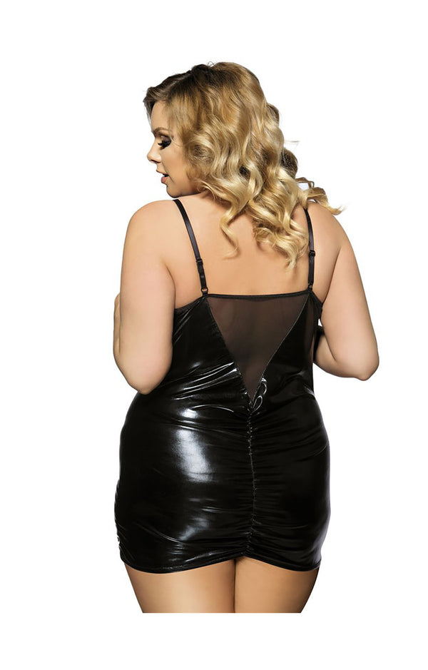 Black Leather Look Open Cup Plus Size Crotchless Dominatrix Style Dress