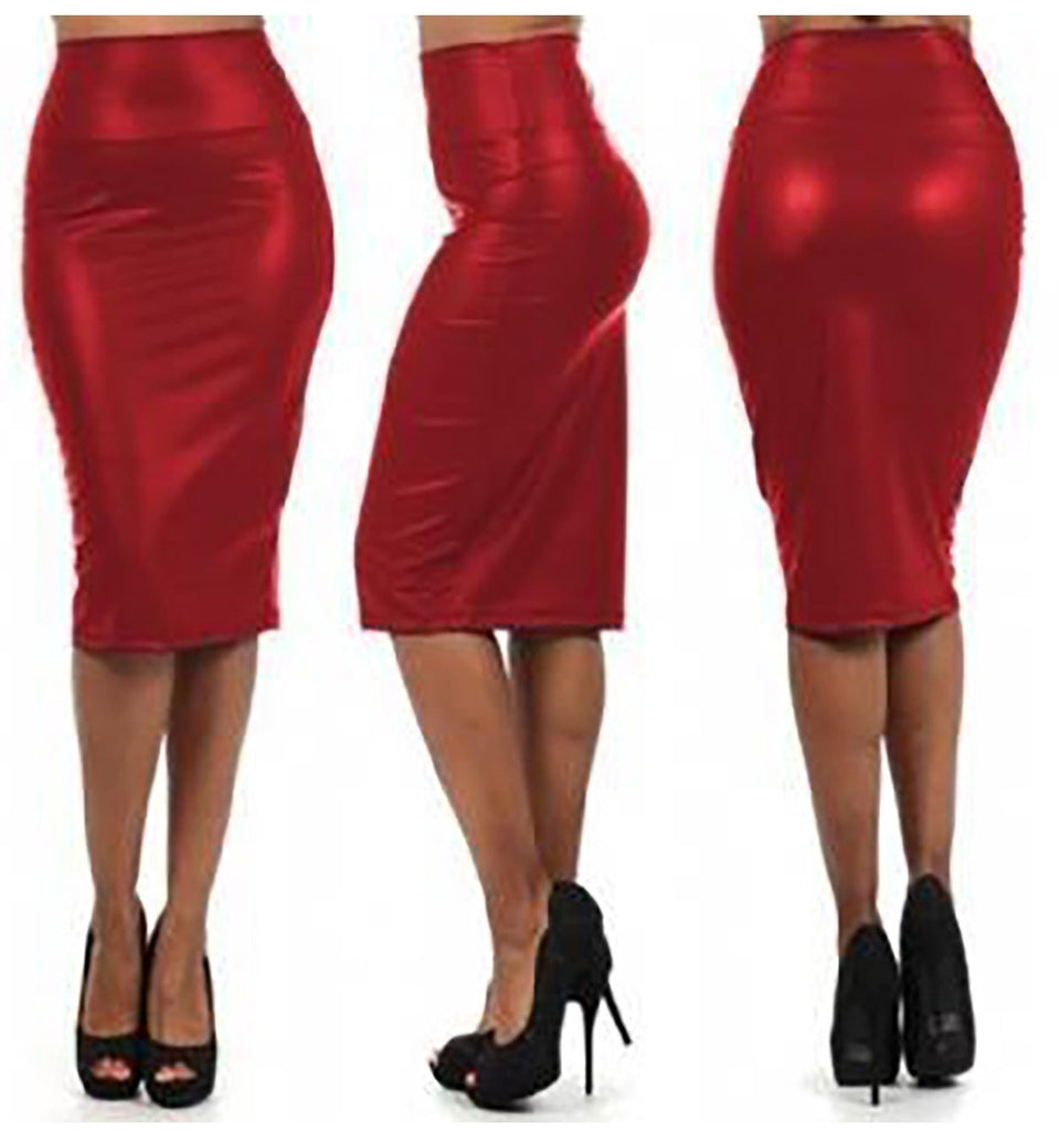 High Waist Faux Leather Skirt Party Dress