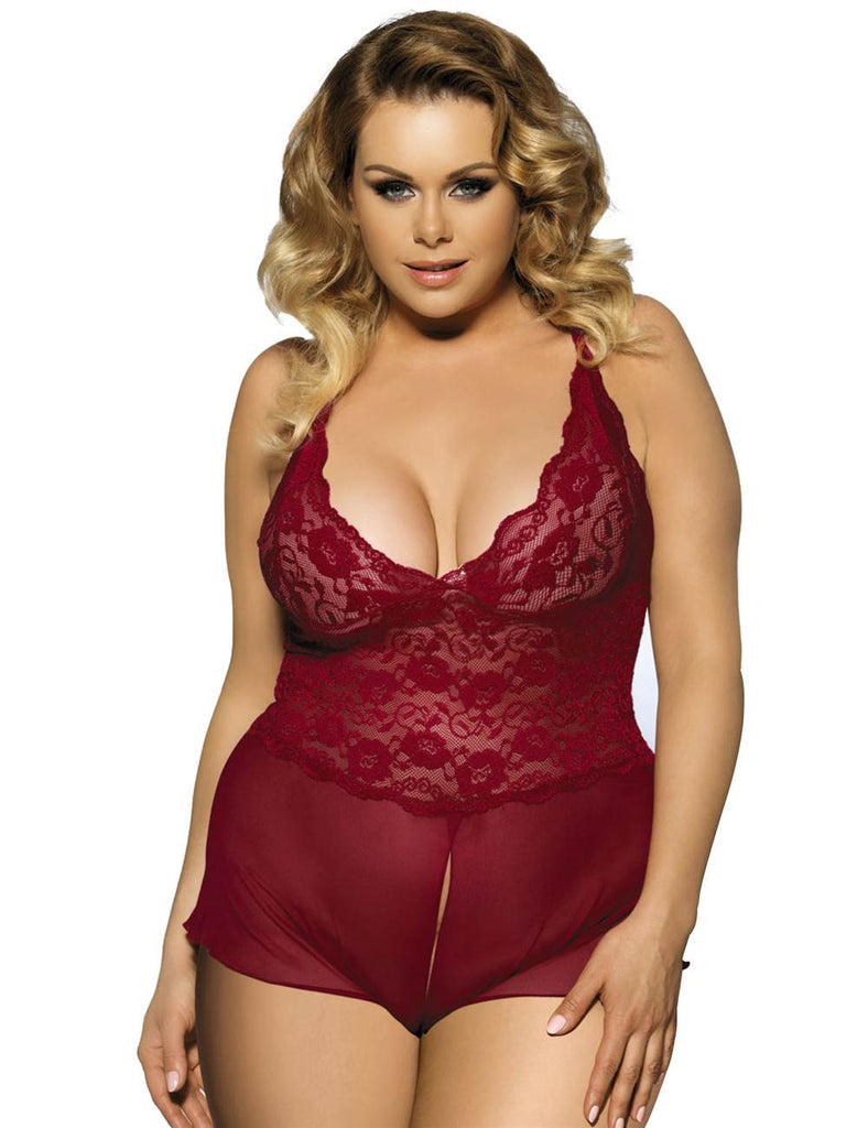 Red Halter Lace Plus Size Teddy Ling