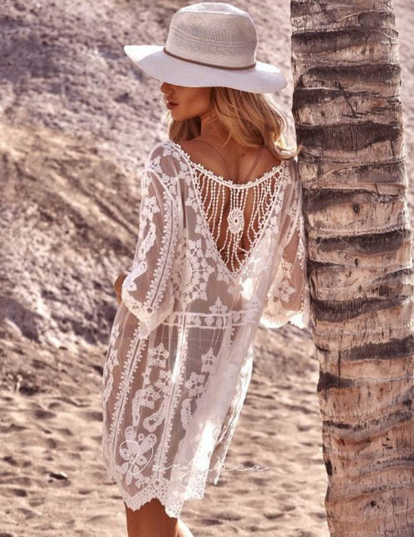 Sheer White Vintage Lace Beach Dress