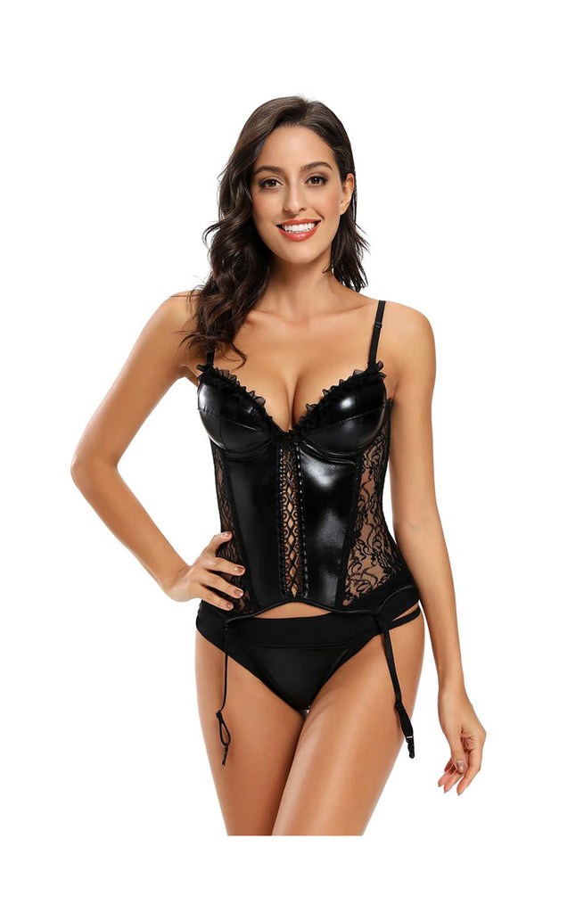 Leather Look Lace Sexy Corset