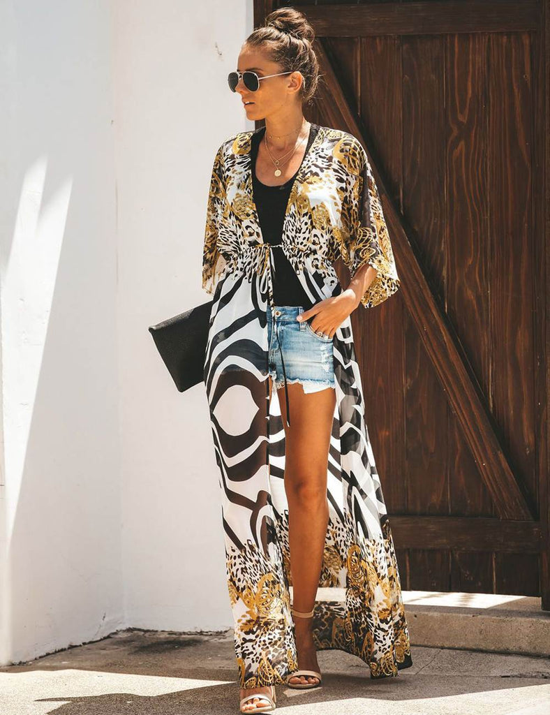Ladies Abstract Leopard Print Chiffon Kaftan