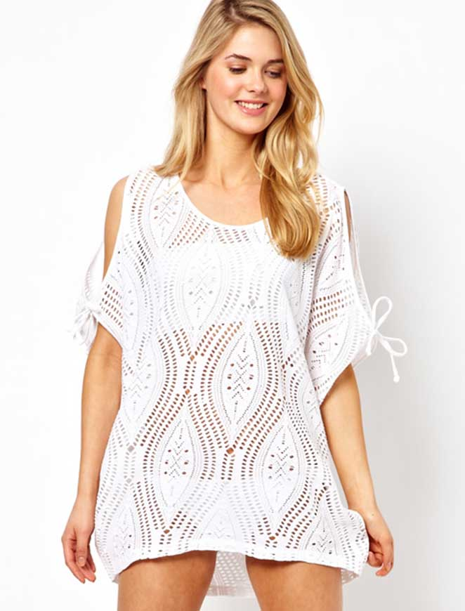 Ladies Open Shoulder Knit Beach Cover Up