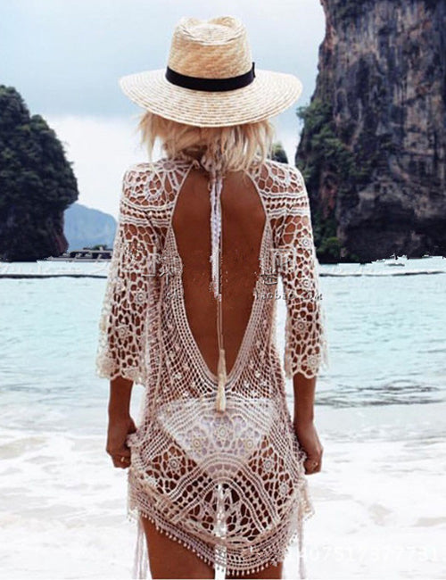 Stunning Open Back Ladies Crochet Kaftan