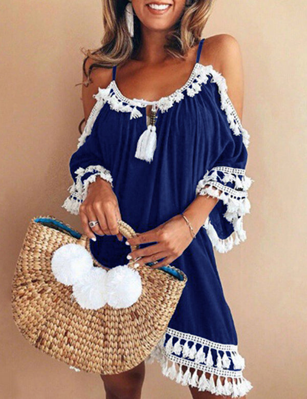 Black Tassled Boho Beach Dress B361-1 18369
