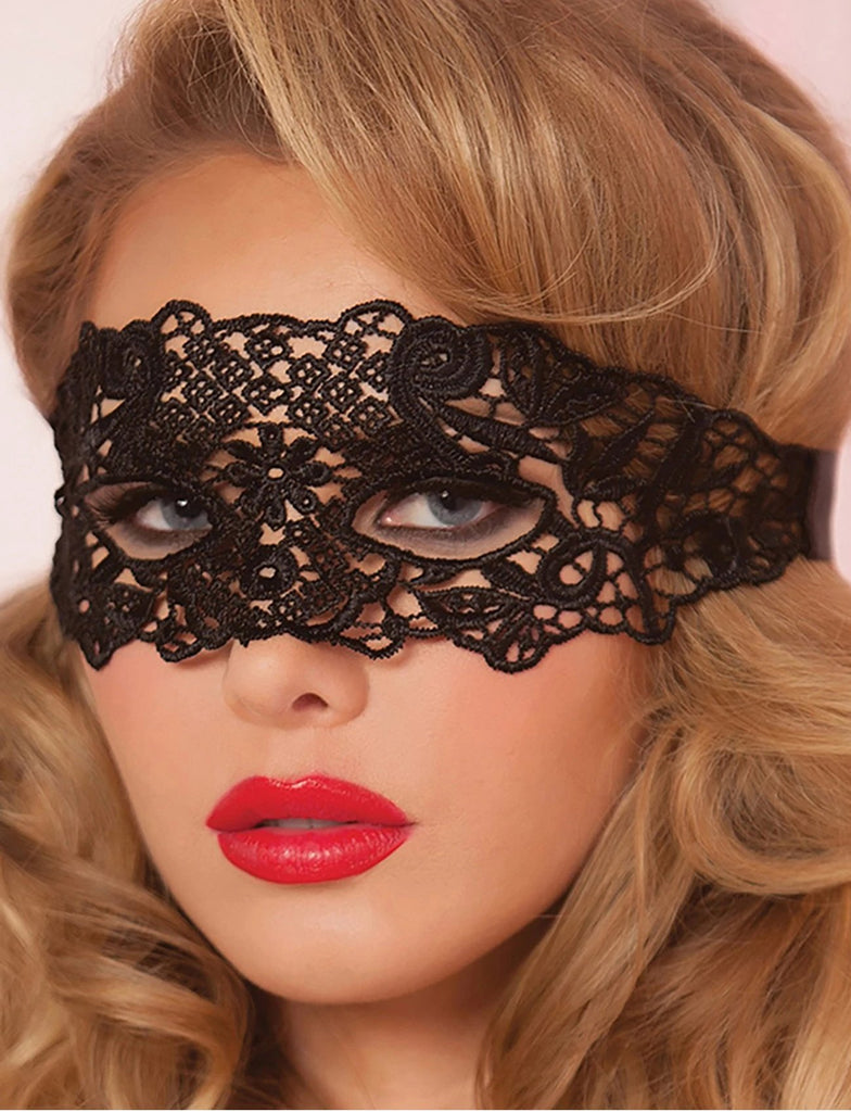 Black Floral Lace Wrap Around Headpiece Masquerade Mask