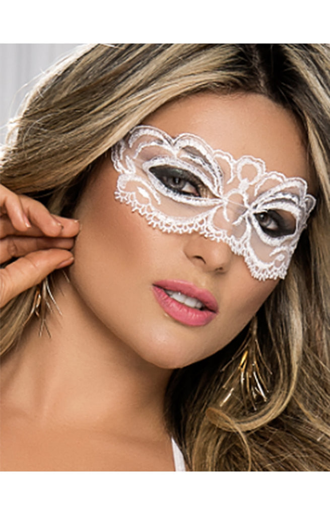 Enchanting White Lace Butterfly Masquerade Eyepiece Mask