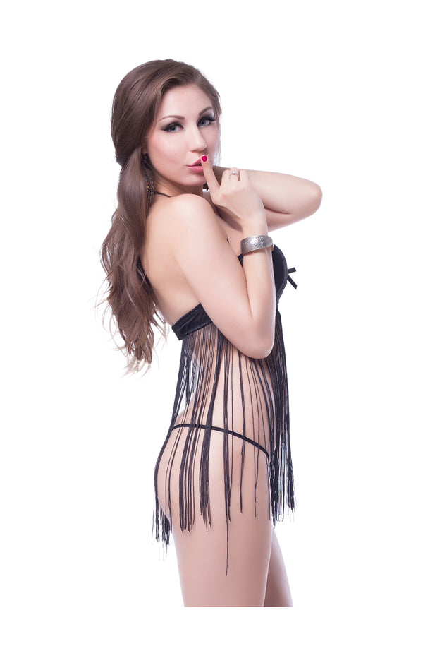 Fringed Halter Babydoll Set