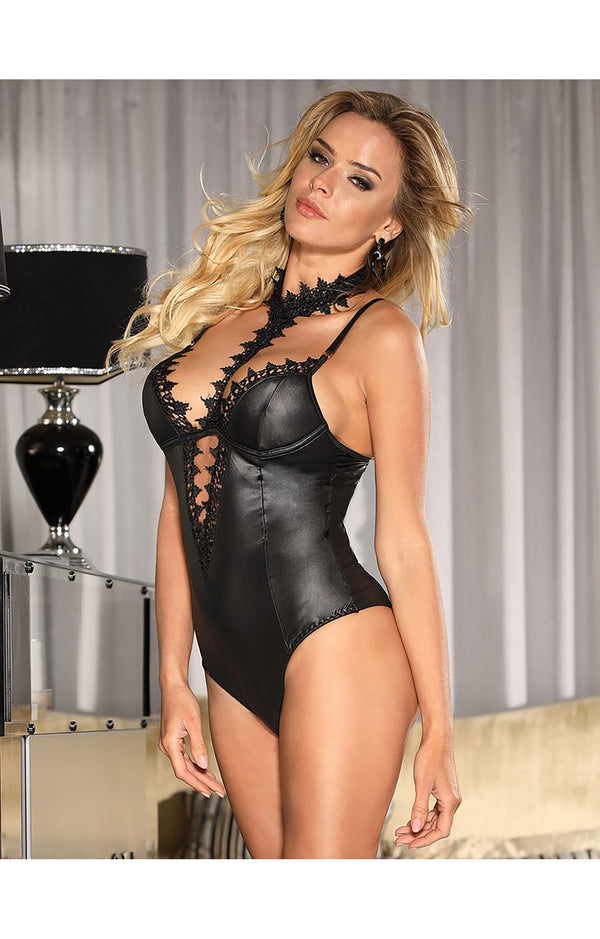 Sexy Leather Teddy Lingerie
