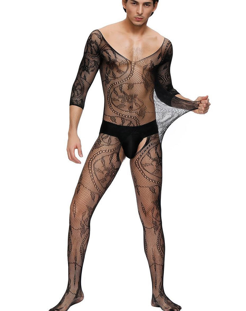Floral Crotchless Black Bodystockings For Men