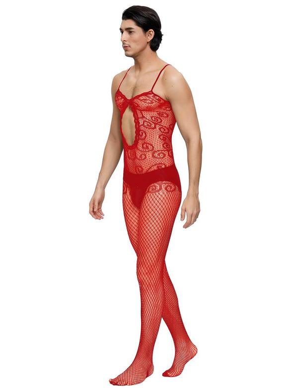 Sexy Red Crocheted Fishnet Bodystockings For Men