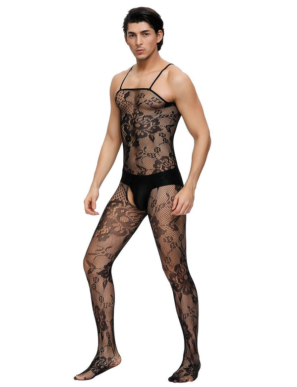 Floral Crotchless Fishnet Bodystocking For Men
