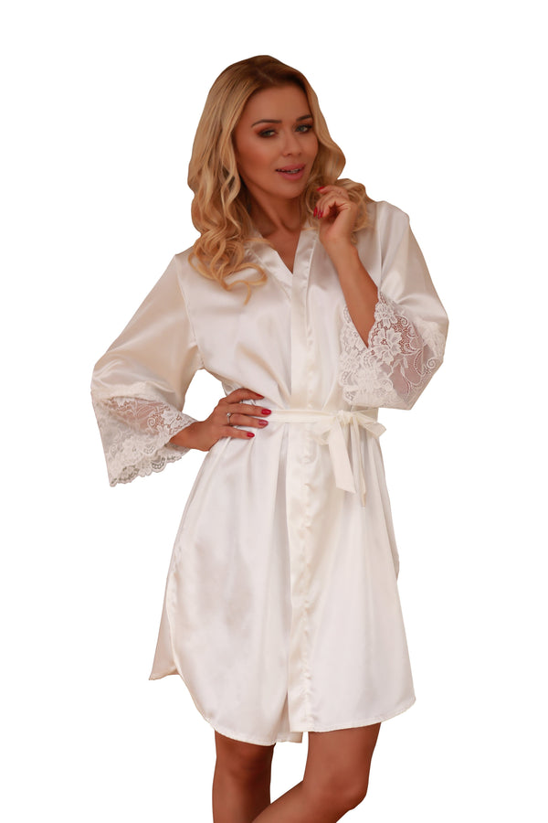 Elegant Satin Dressing Gown - ecru