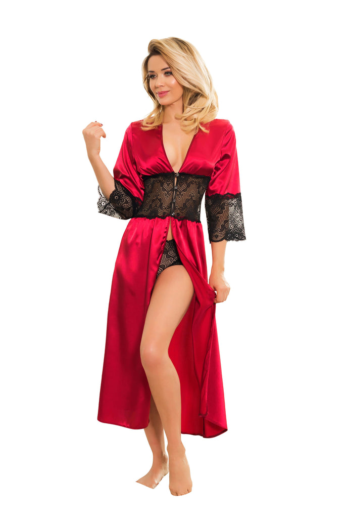 Elegant Long Satin Dressing Gown & Short Set - claret