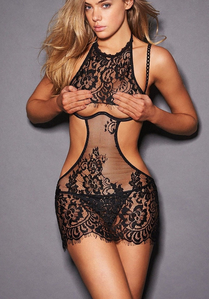 Open Front Lace Babydoll