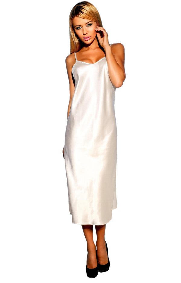 White Long Satin Chemise