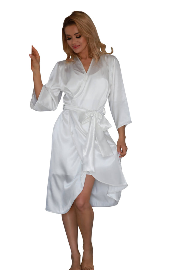 Elegant Long Satin Dressing Gown