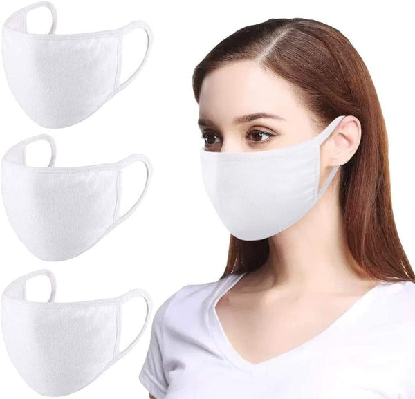 5Pcs Washable White Face Masks