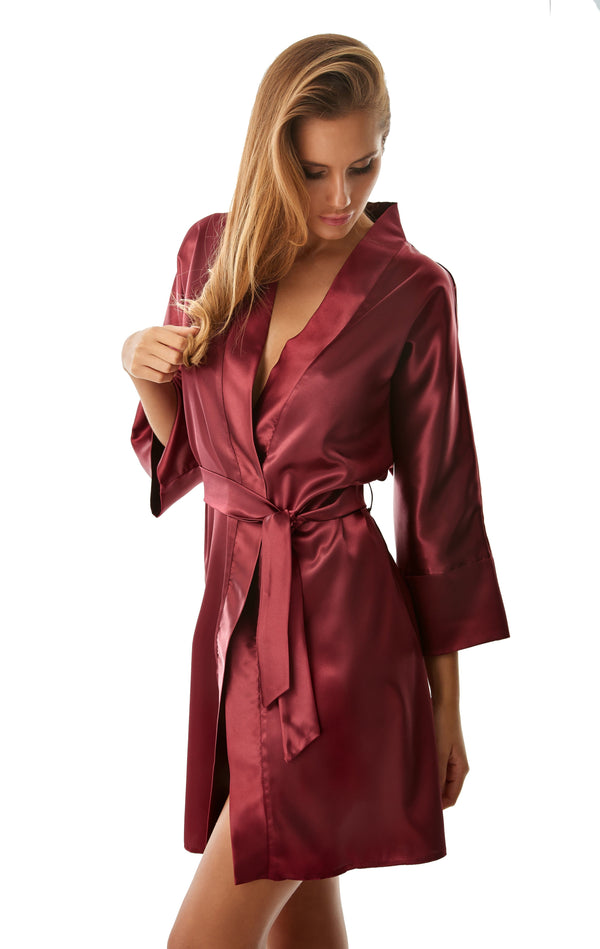 Luxury Satin Dressing Gown - claret