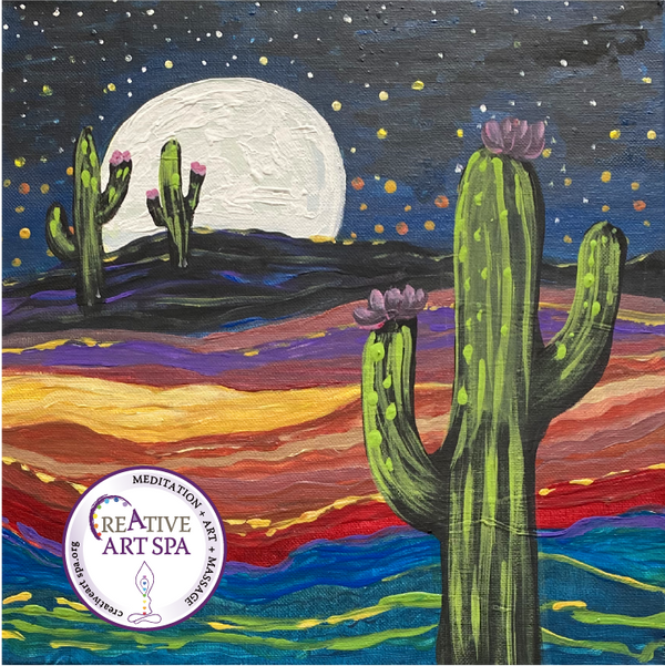 Creative ART SPA – Private Event – Acrylic Painting - Starry-eyed Cactus