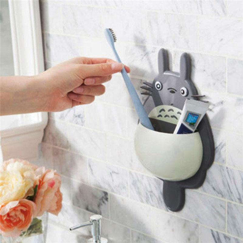 1Pcs Toothbrush Cute Totoro Wall Mount Toothbrush Holder Bathroom Home Accessories Today Panda