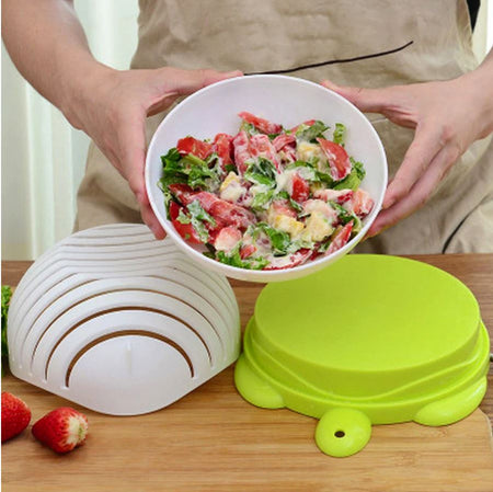 Easy Salad Cutting Bowl - Kitchen Washing Strainer kitchen Accessories Today Panda White