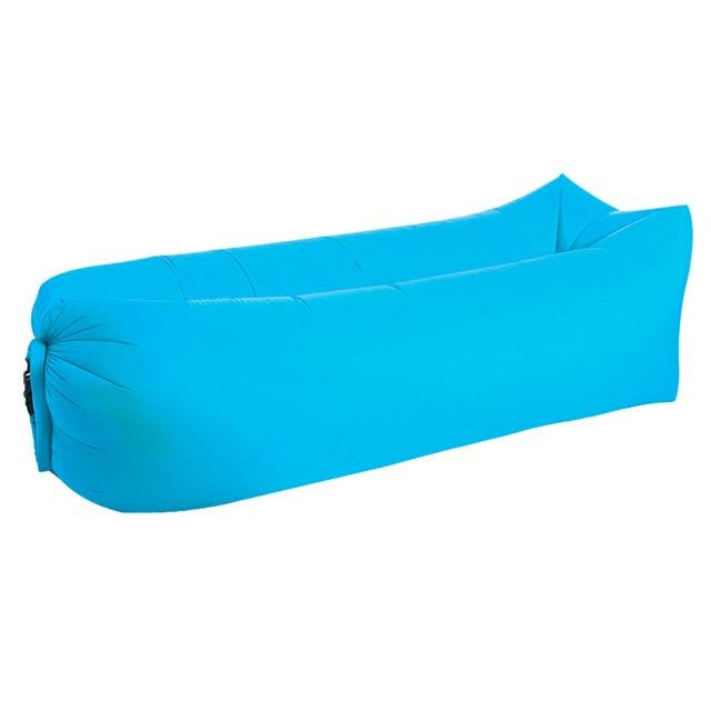 Inflatable Air Sofa Bed Good Quality Sleeping Beach Sofa Amazing Product Today Panda Sky blue Square