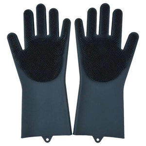 Magic Silicone Dishwashing Gloves Kitchen Gloves Today Panda black