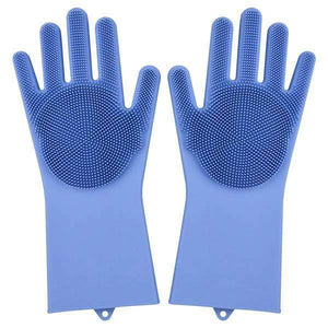 Magic Silicone Dishwashing Gloves Kitchen Gloves Today Panda blue
