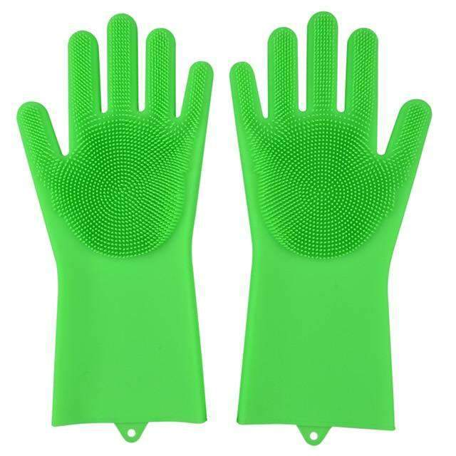 Magic Silicone Dishwashing Gloves Kitchen Gloves Today Panda Grass Green
