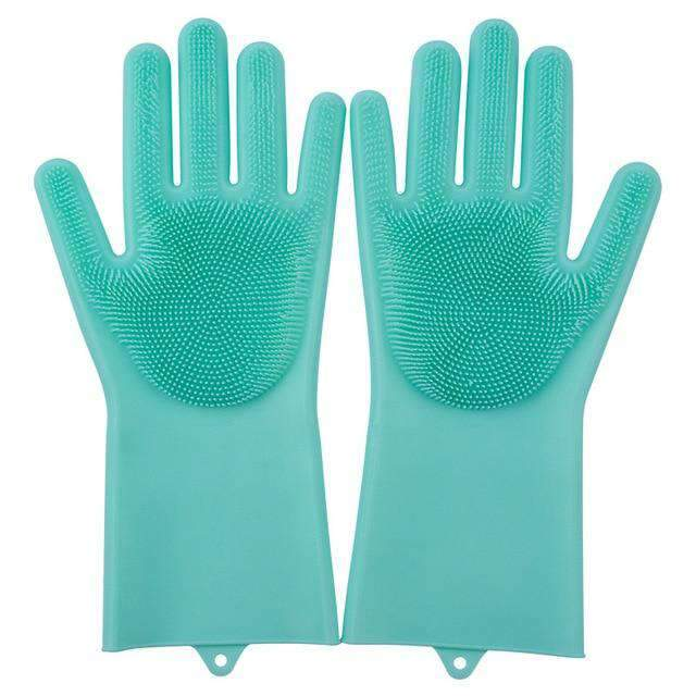 Magic Silicone Dishwashing Gloves Kitchen Gloves Today Panda green