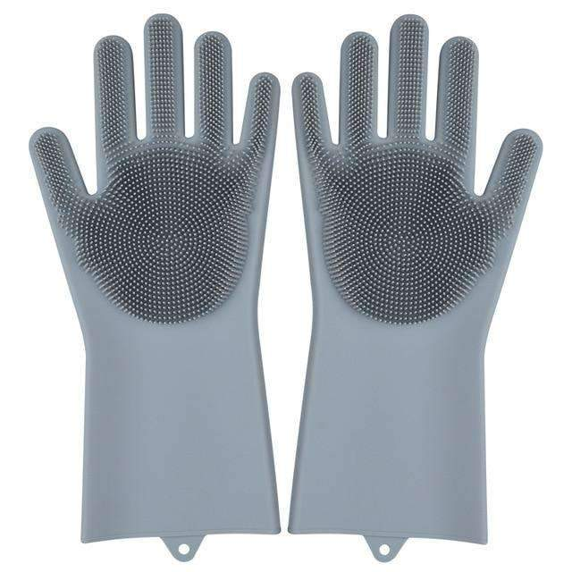 Magic Silicone Dishwashing Gloves Kitchen Gloves Today Panda grey