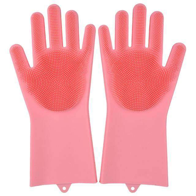 Magic Silicone Dishwashing Gloves Kitchen Gloves Today Panda pink