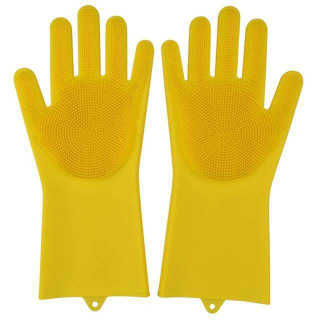 Magic Silicone Dishwashing Gloves Kitchen Gloves Today Panda yellow