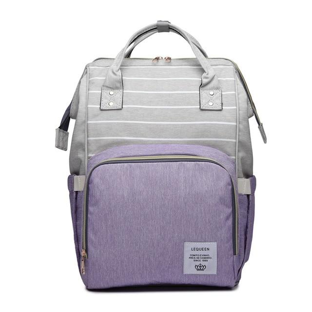 Mummy Maternity Nappy Bag Large Capacity Travel Backpack Nursing Bag for Baby Care! Baby Care Today Panda Purple Stripe