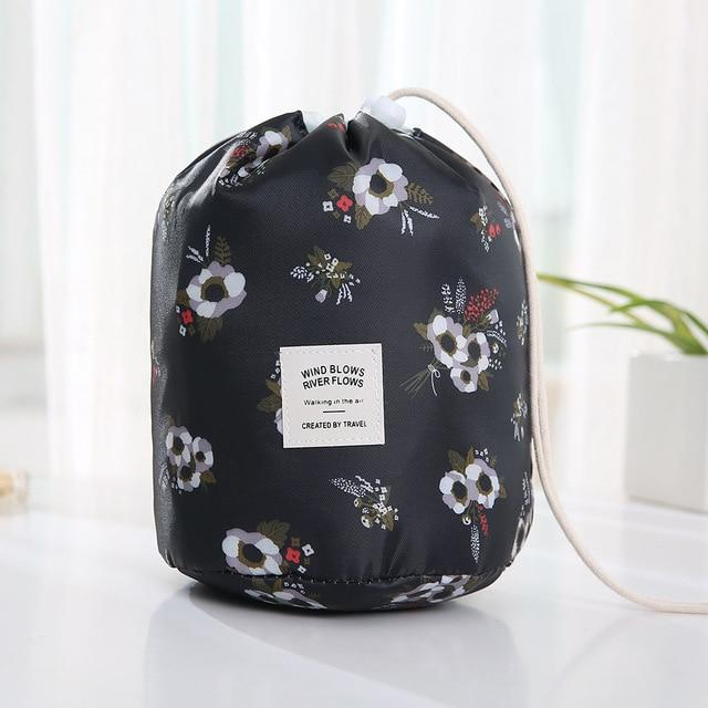 Travel Cosmetic Bag Makeup Bag Today Panda Black flowers