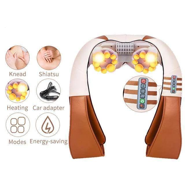 U Shape Electrical Back Neck Shoulder Massager health Today Panda 110V China Brown2