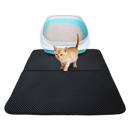 Waterproof Pet Double Layer Cat Litter Box Mat Clean Pad Pet Accessories Today Panda Gray 55x70cm Foldable