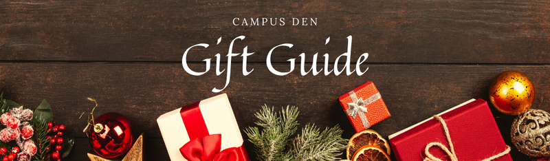 Campus Den gift guide presents, pine, bulbs, and wood