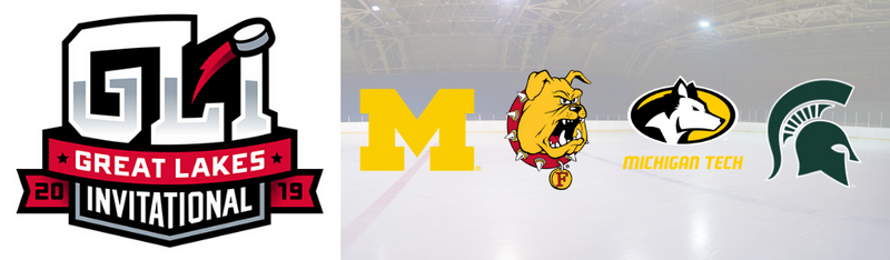 Great Lakes Invitational Logo, and UM, Ferris, MTU, and MSU Logos
