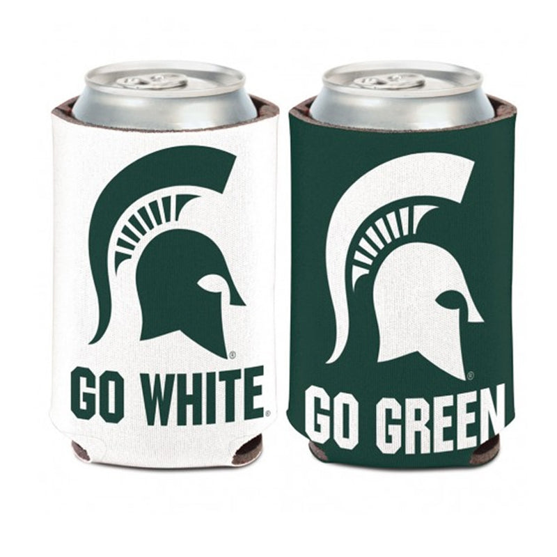 MSU Go Green Go White Can Cooler