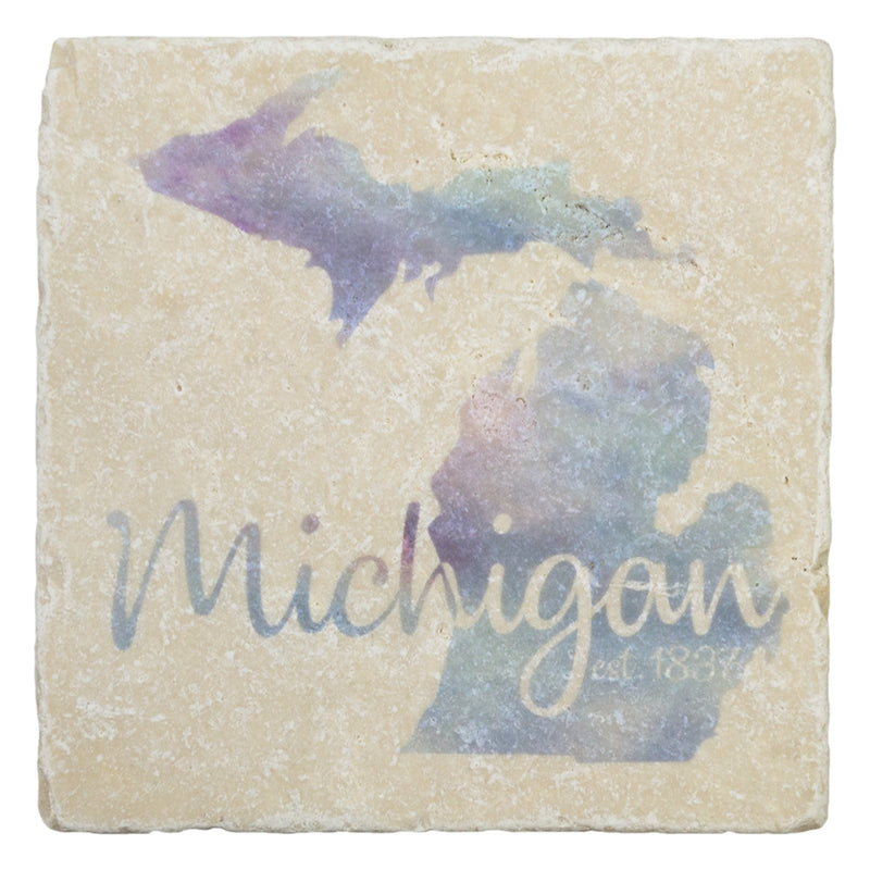 GR8ST8 Watercolor Michigan Art Coaster