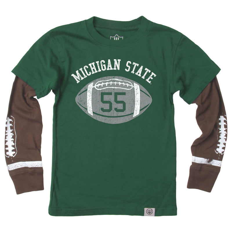 Football MSU Toddlar Long Sleeve T-Shirt