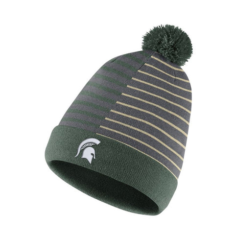 MSU Striped Pom Beanie