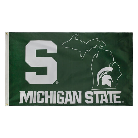 3' x 5' State Outline MSU Flag
