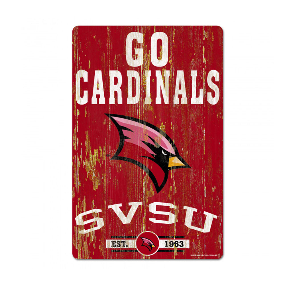 """Go Cardinals"" Wooden SVSU Sign"