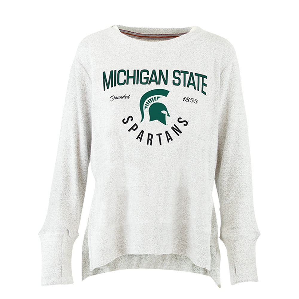 Ladies  Simone Cuddle Knit MSU Crew